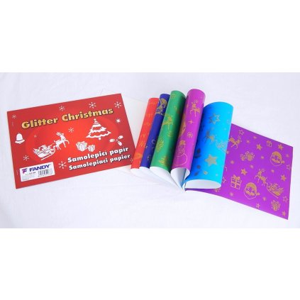 Samolepící papír, glitter christmas