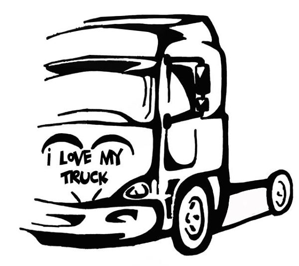 """Zde můžete zakoupit samolepky """"I love my truck"""""""