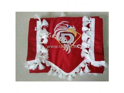 Závěsy DAF červené - bílé střapce