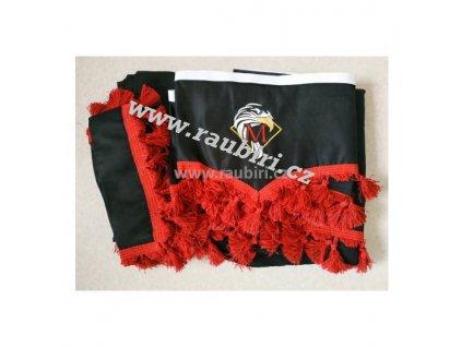 Závěsy MERCEDES černé - červené střapce (malá sada)