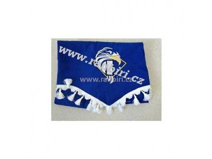 Závěsy Iveco modré - bílé střapce