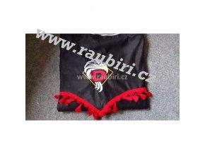 Závěsy DAF černé - červené střapce