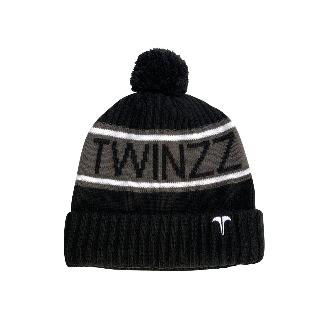 VANCOUVER FLEECE LINED JACQUARD KNITTED HAT Black Charcoal White