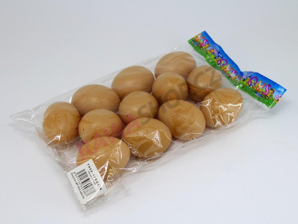Vejce plastové 12 ks - natural