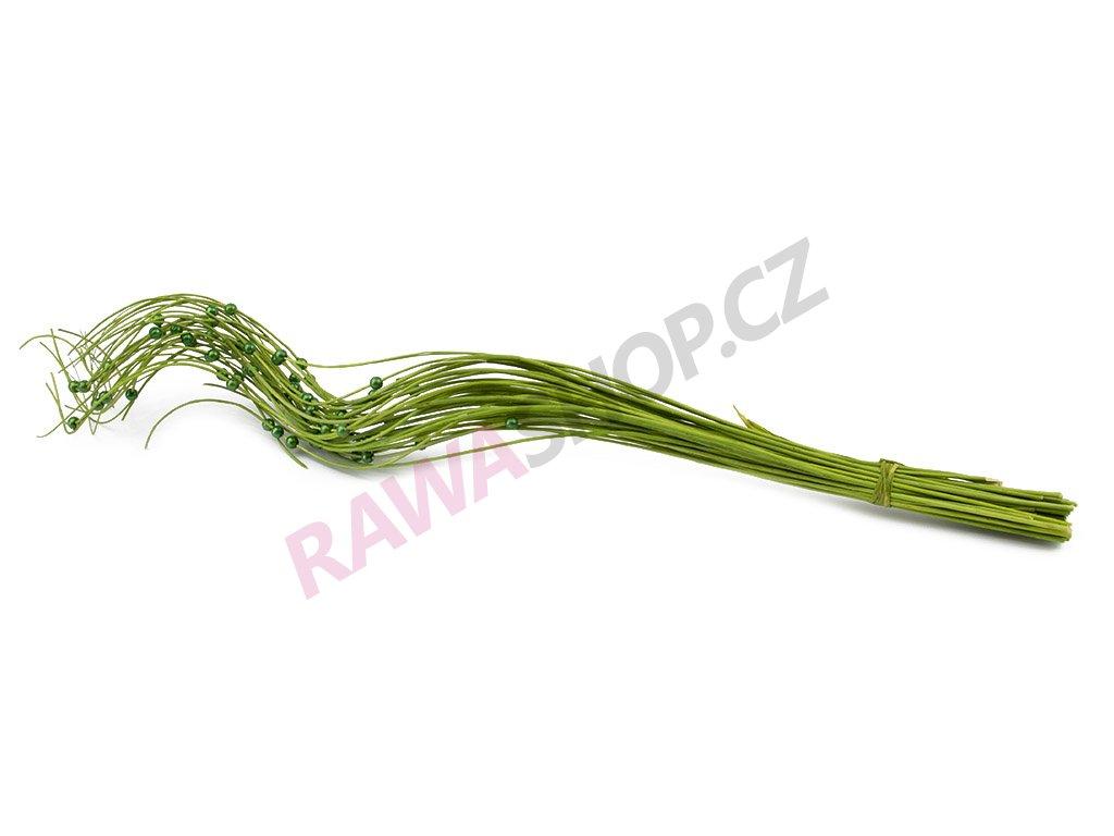 Kroucené proutí s korálkem - zelená