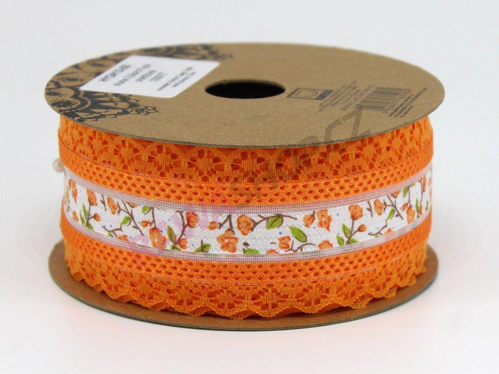 Krajková stuha s květy - oranžová