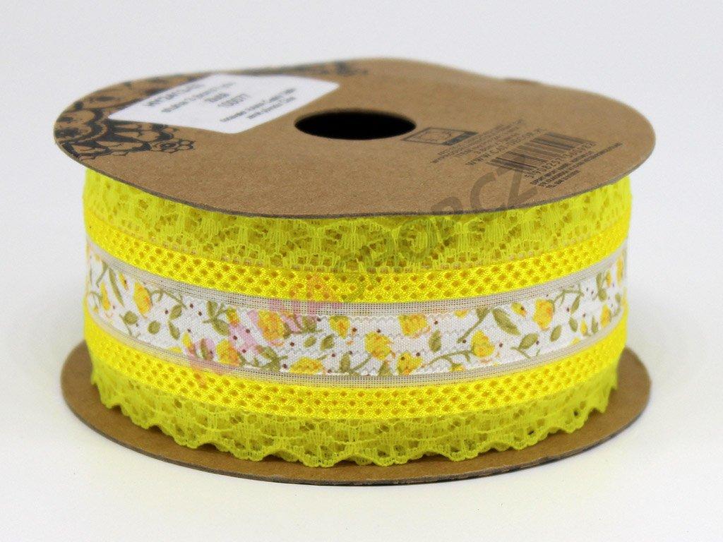 Krajková stuha s květy - žlutá