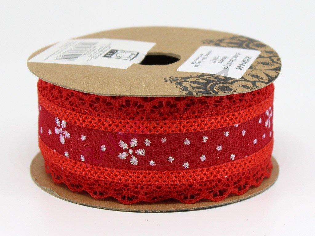 Krajková stuha s kamínky - červená