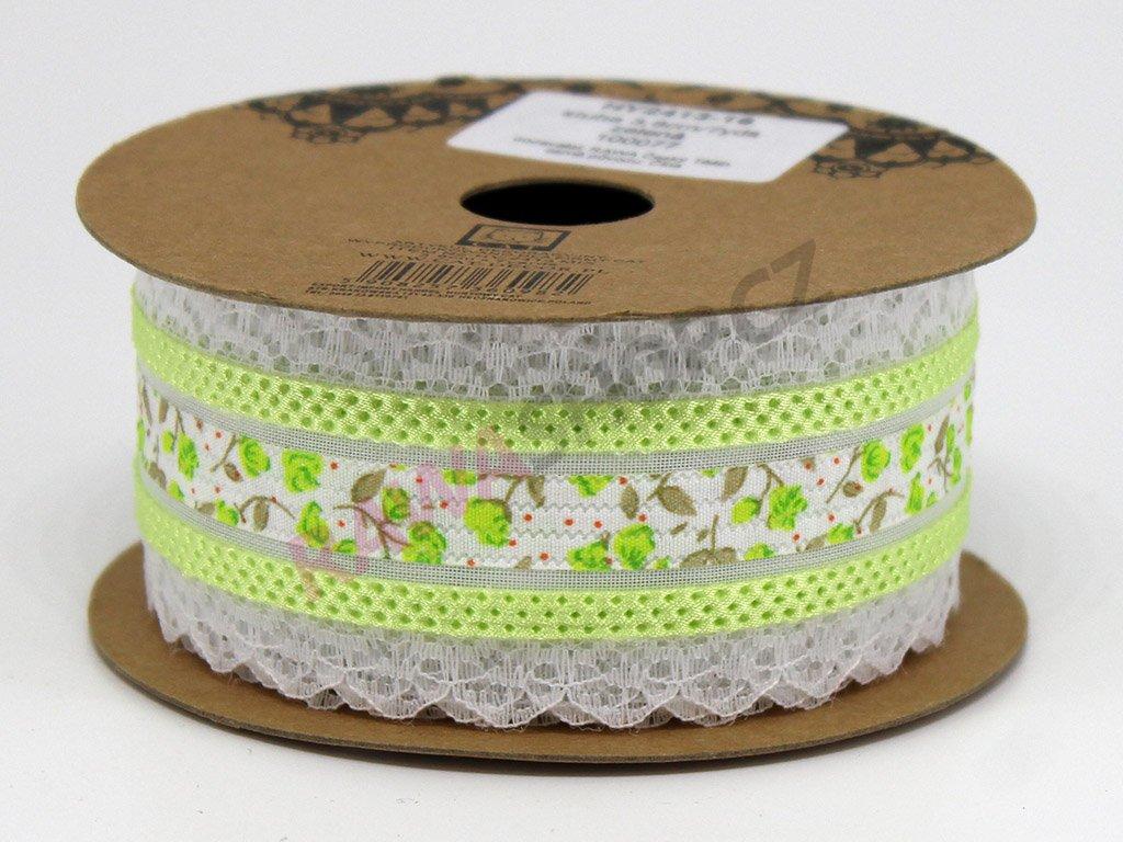 Krajková stuha s květy - zelená