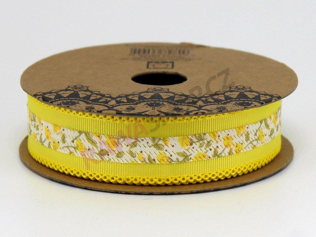 Stuha s květy 2,5 cm - žlutá