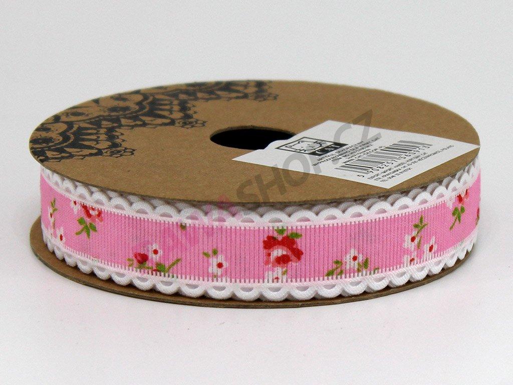 Stuha s květy 2 cm - růžová