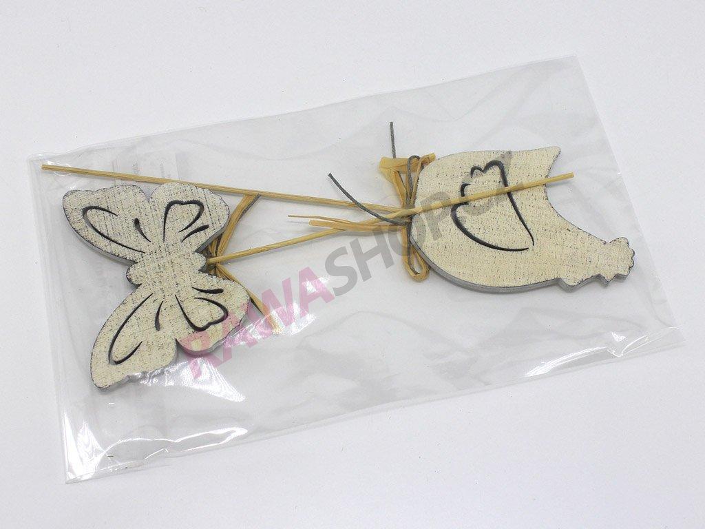 Zápich antik - motýl, slepice