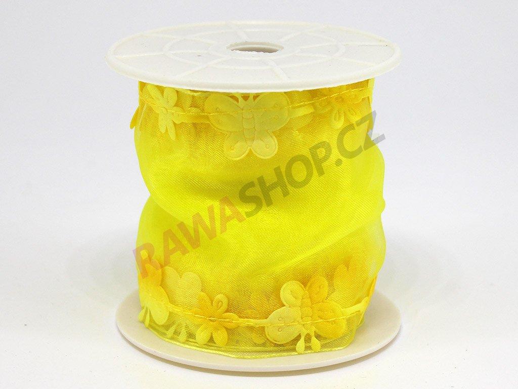 Stuha s motýlkem - žlutá