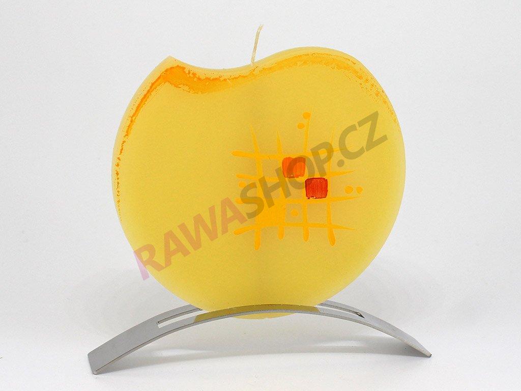 Plochá svíčka mřížka kulatá - žlutá