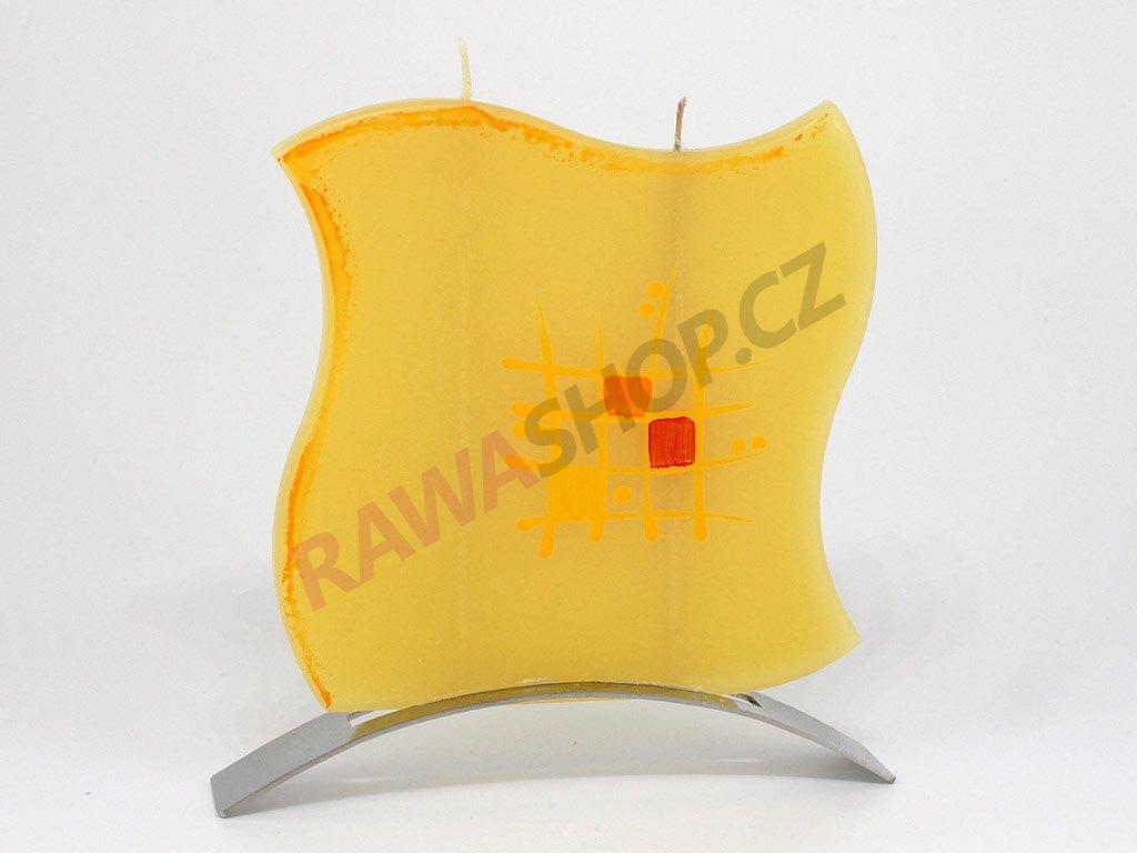 Plochá svíčka mřížka vlnka - žlutá