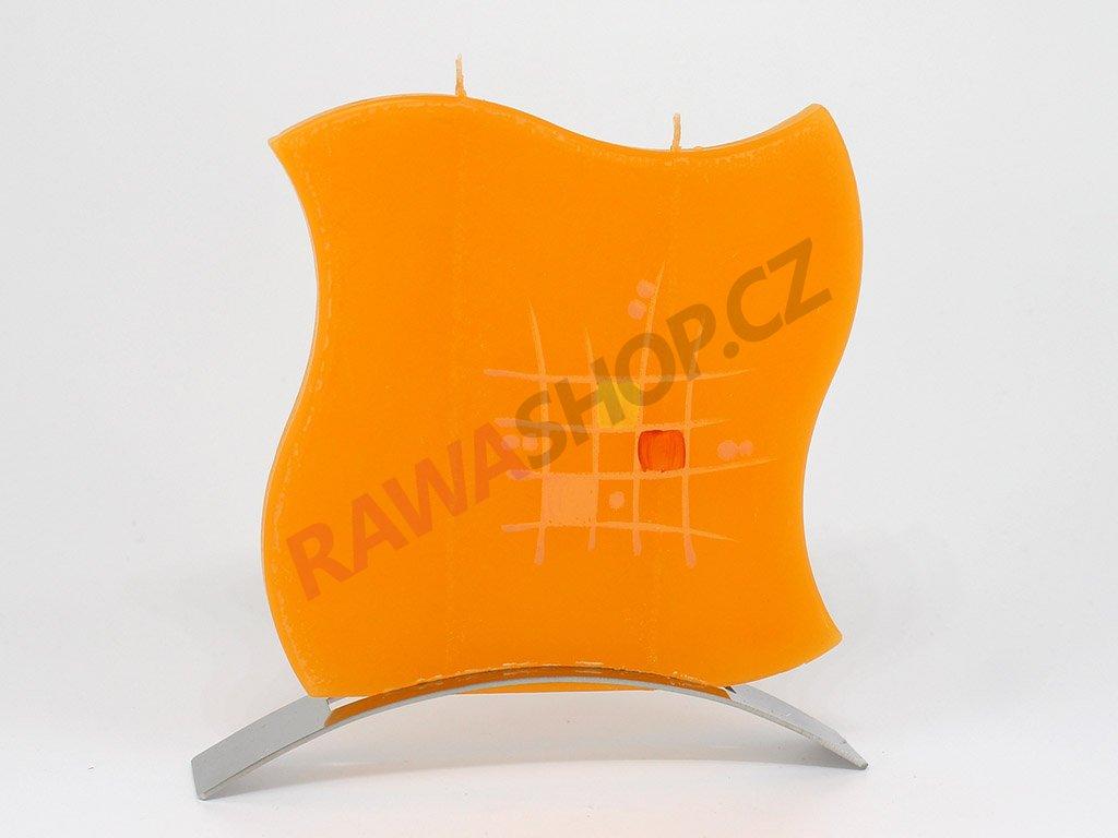 Plochá svíčka mřížka vlnka - oranžová