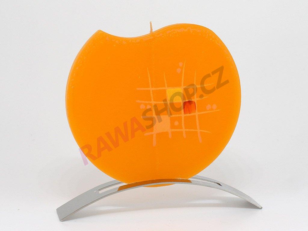 Plochá svíčka mřížka kulatá - oranžová