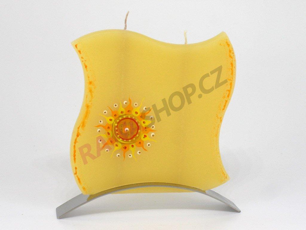 Plochá svíčka indické slunce vlnka - žlutá