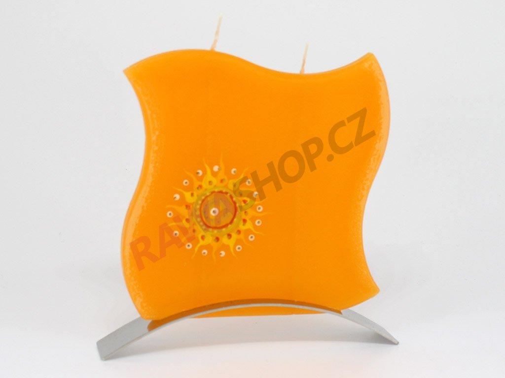 Plochá svíčka indické slunce vlnka - oranžová