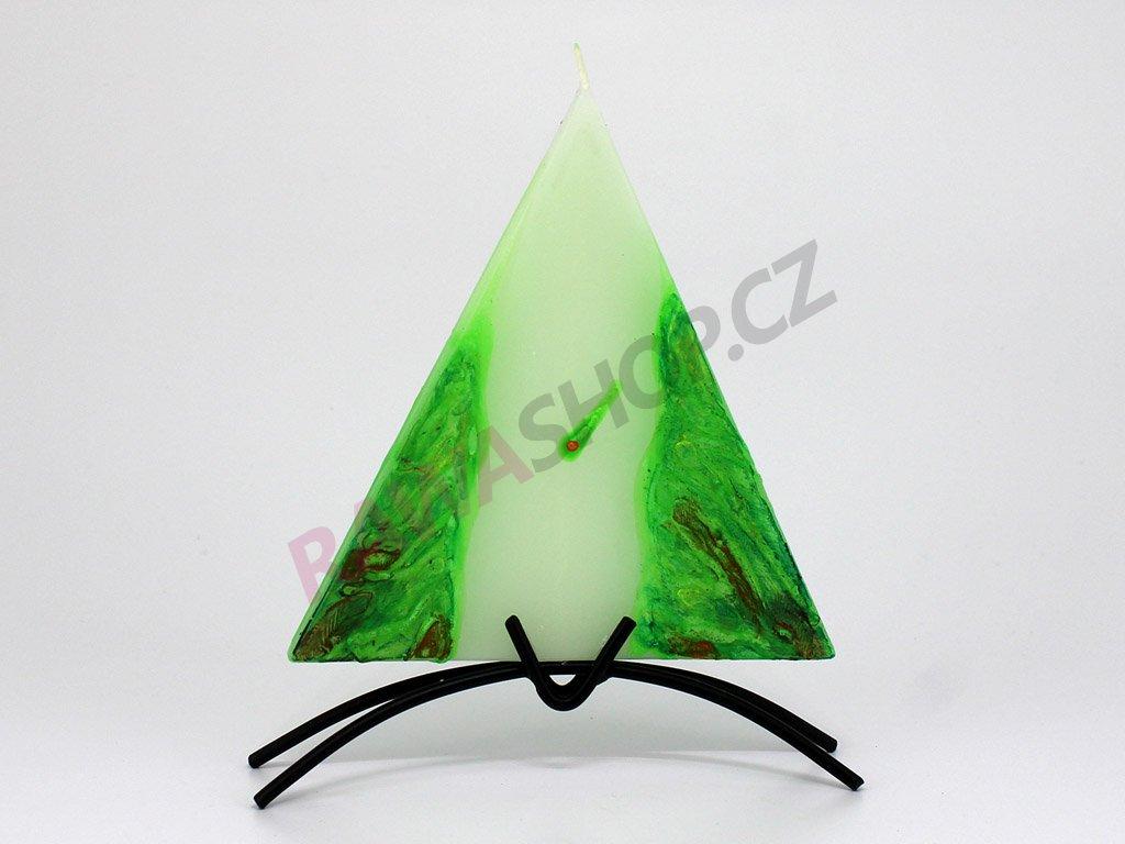 Plochá svíčka Vesuv trojúhelník - zelená