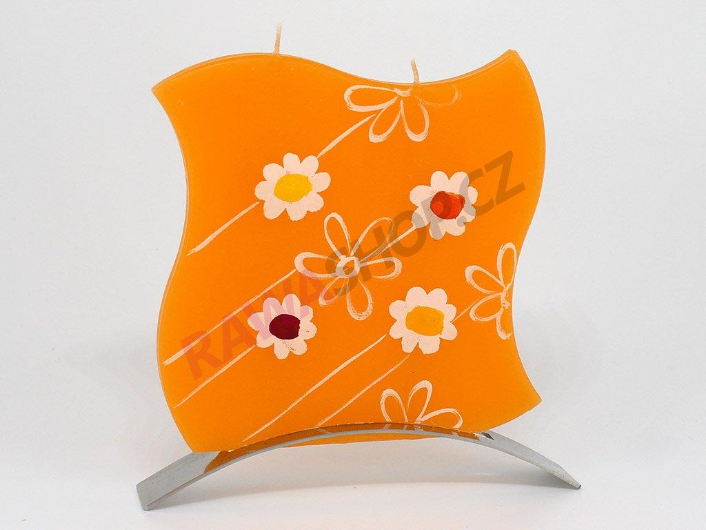 Plochá svíčka Spring vlnka - oranžová
