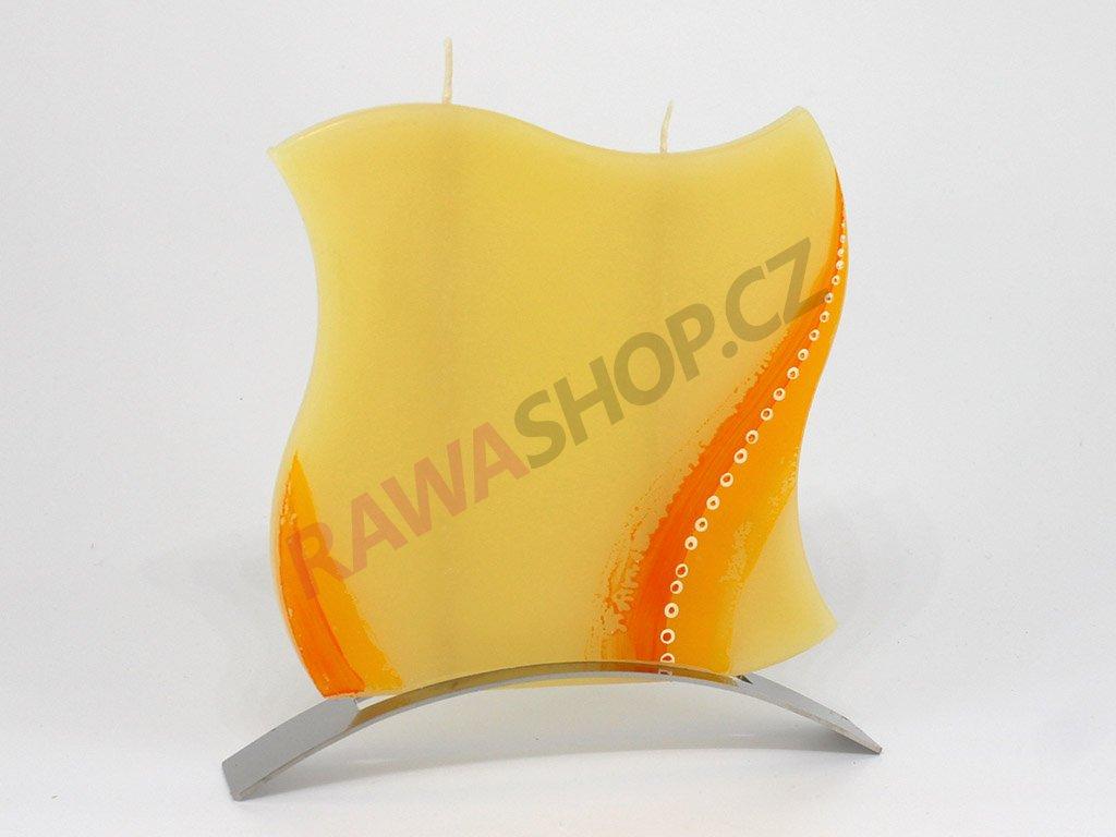 Plochá svíčka Road vlnka - žlutá
