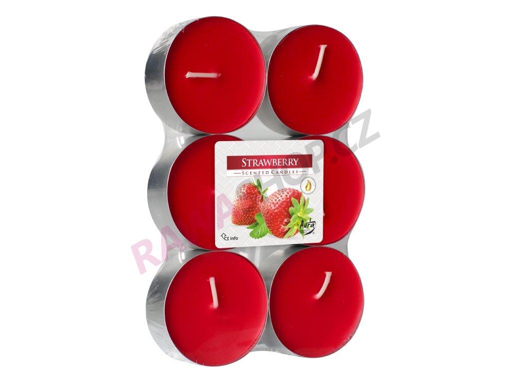 9. Čajové svíčky Maxi 6 ks Strawberry
