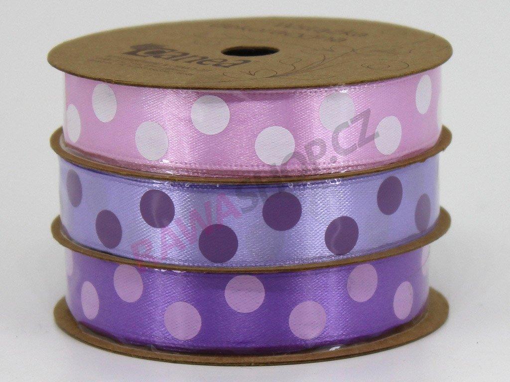 Saténová tečkovaná stuha 1,5cm trikolor - fialová