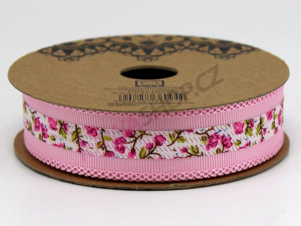 Stuha s květy 2,5 cm - světle růžová