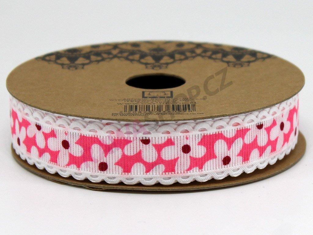 Stuha kopretina 2 cm - růžová