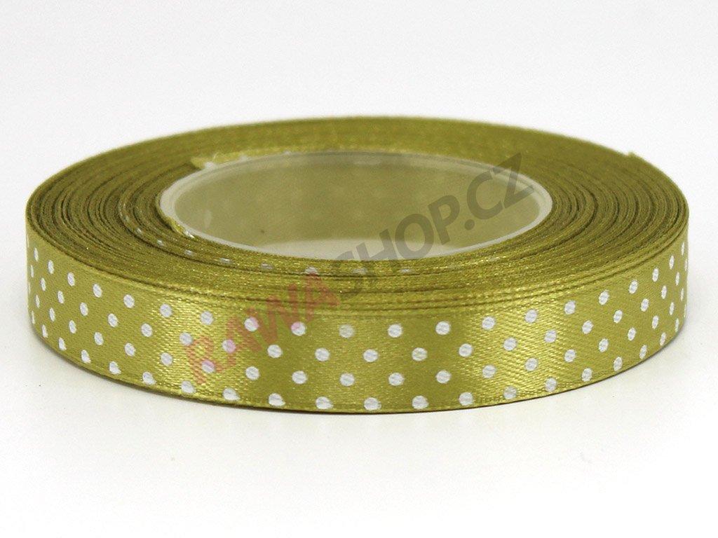 Saténová tečkovaná stuha 1,2cm - olivová
