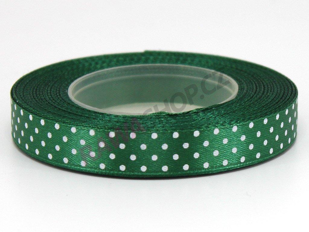 Saténová tečkovaná stuha 1,2cm - tmavě zelená