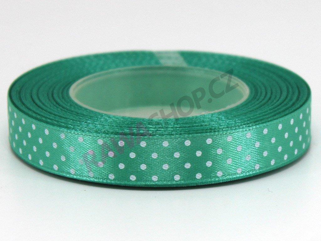 Saténová tečkovaná stuha 1,2cm - světle zelená