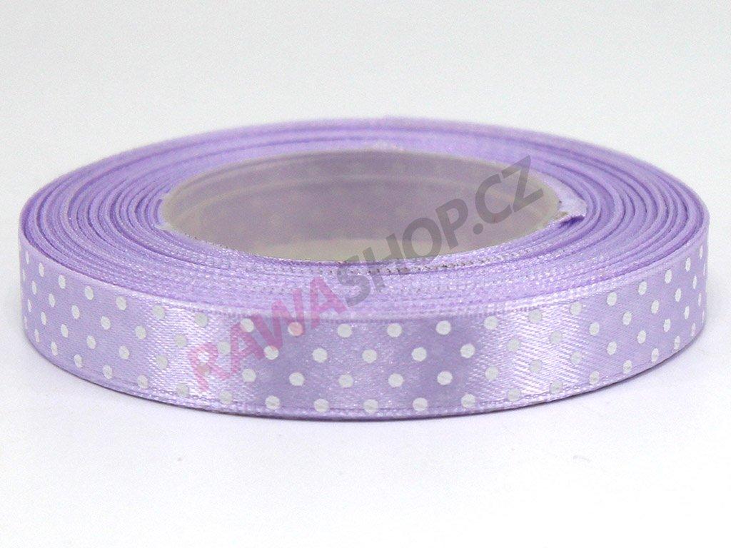 Saténová tečkovaná stuha 1,2cm - světle fialová
