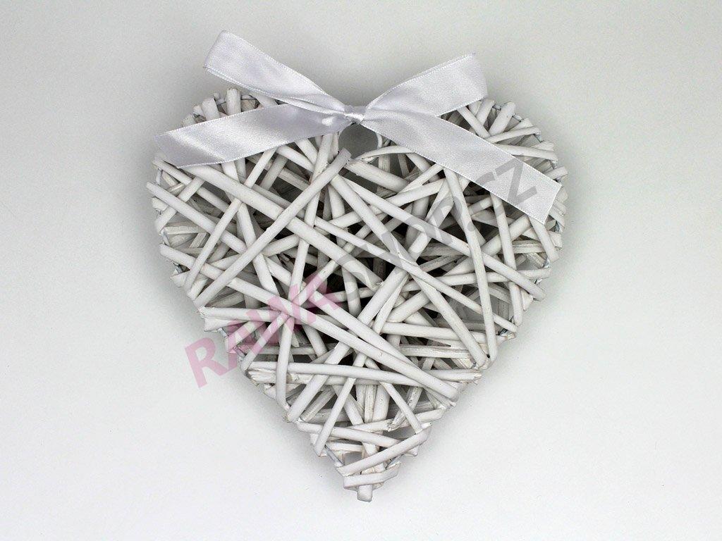Proutěné srdce s mašlí - bílá