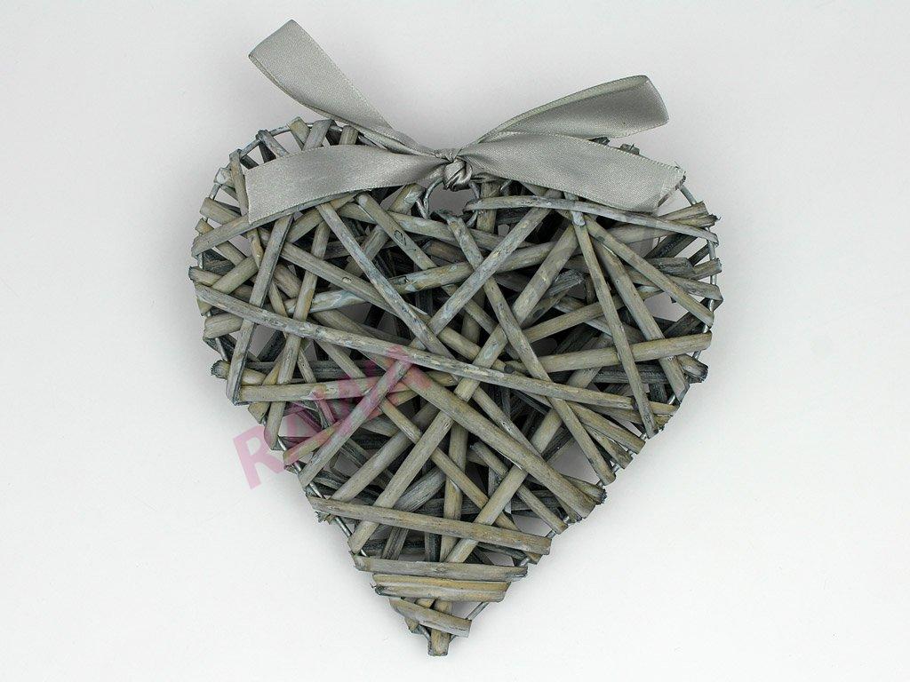 Proutěné srdce s mašlí - šedá