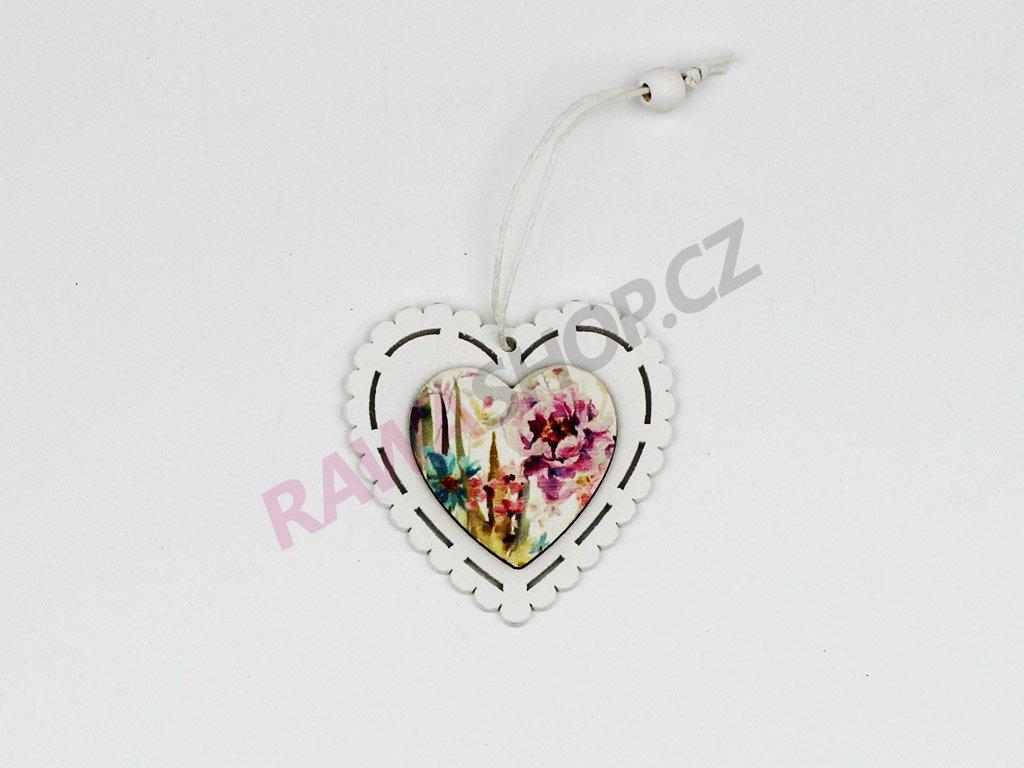Srdce s barevnými květy 8ks