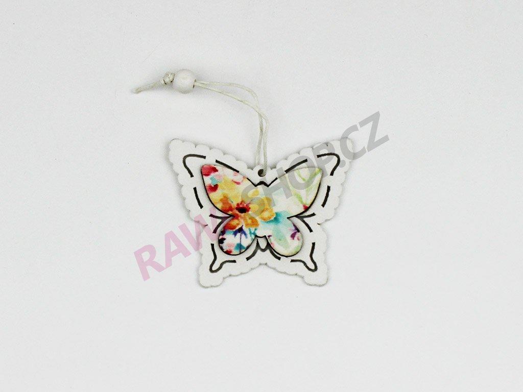 Motýl s barevnými květy 8ks