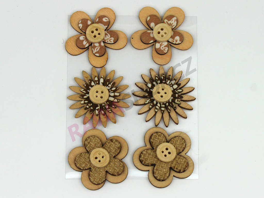 Květiny s knoflíkem 6ks