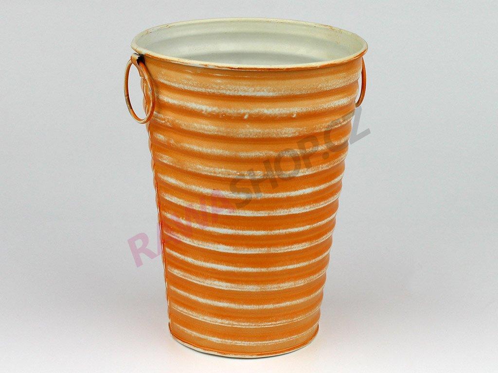 Plechový obal na květiny vysoký - oranžový