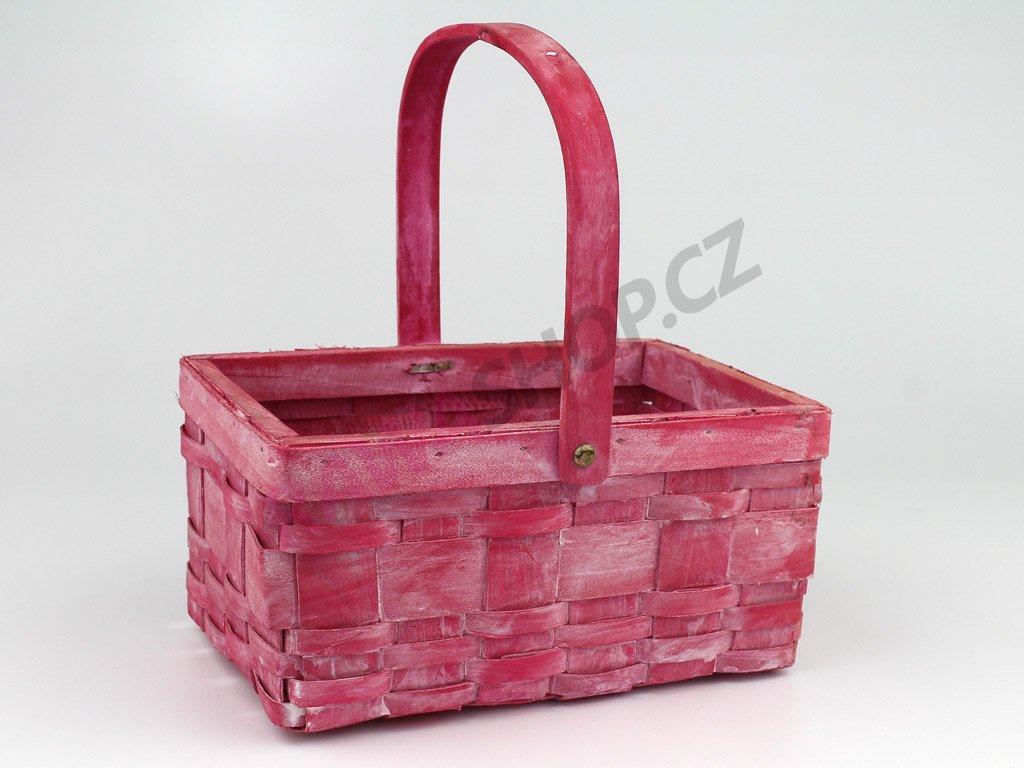 Košík z dýhy obdélník - růžová