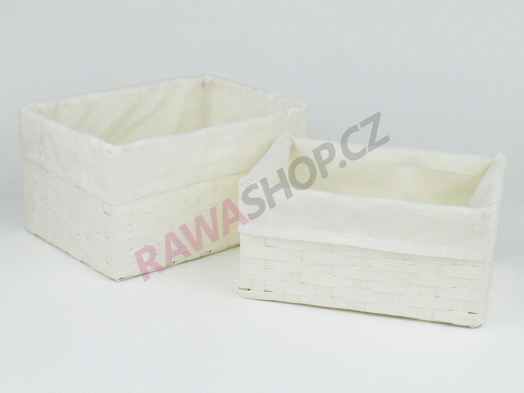 Šuplíky s bílou látkou 6ks - bílá