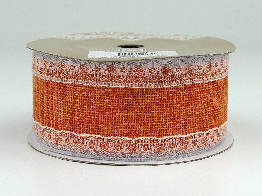 Jutová stuha s krajkou 5cm - oranžová