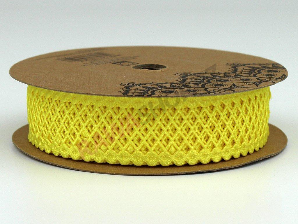 Stuha s mřížkou 2,5cm - žlutá