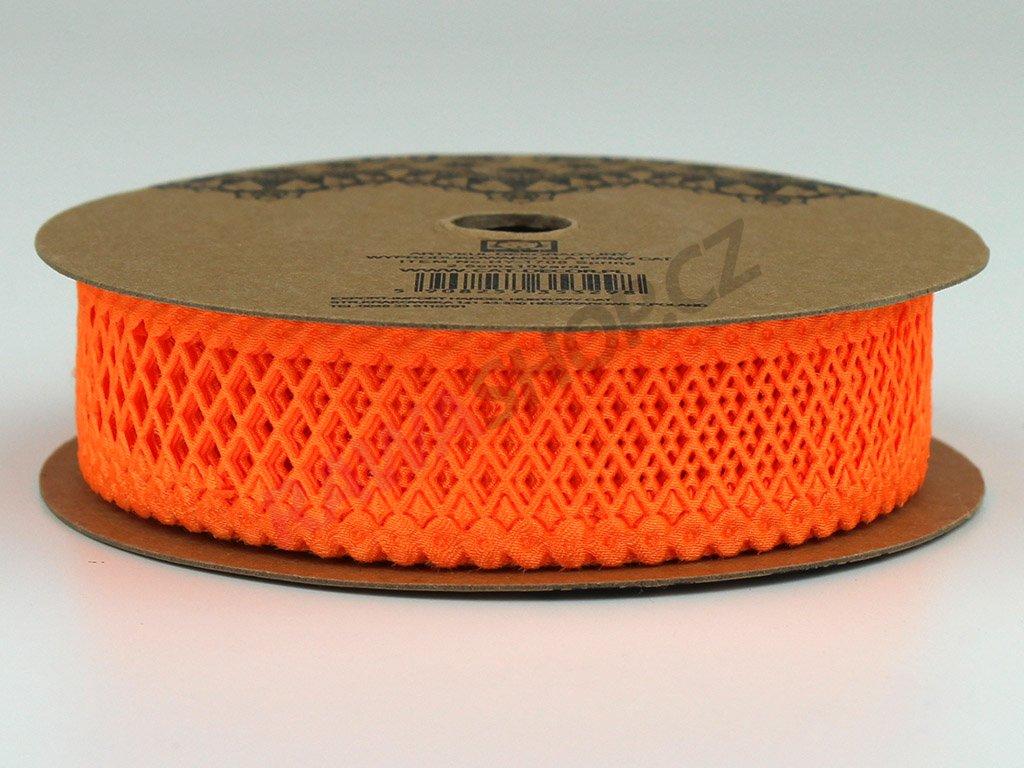Stuha s mřížkou 2,5cm - oranžová