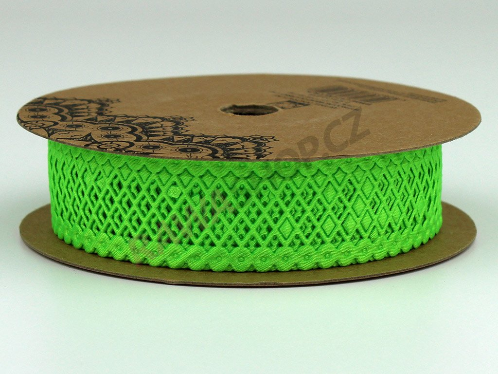 Stuha s mřížkou 2,5cm - zelená