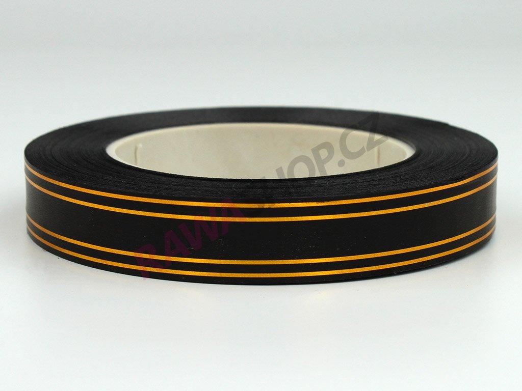 Smuteční stuha s páskem 2cm - zlatá