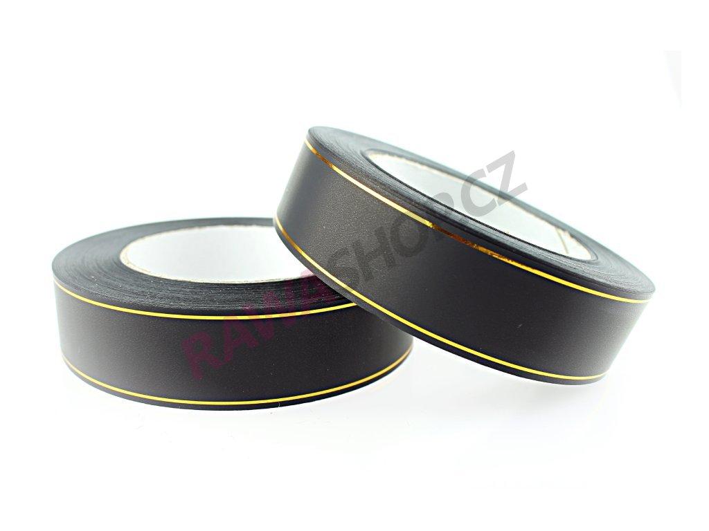 Produkt č. 160 1 Smuteční stuha s páskem 3cm zlatá PAS30 ZL Černá