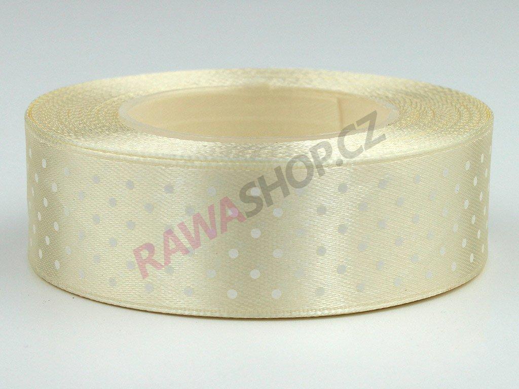 Saténová tečkovaná stuha 2,5cm - krémová