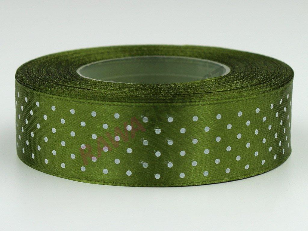 Saténová tečkovaná stuha 2,5cm - olivová